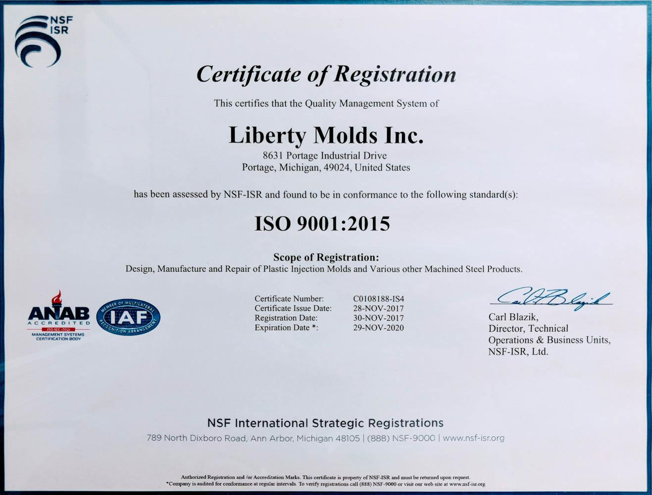 Liberty Molds ISO Registration Certificate
